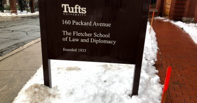 Fletcher School sign in snow