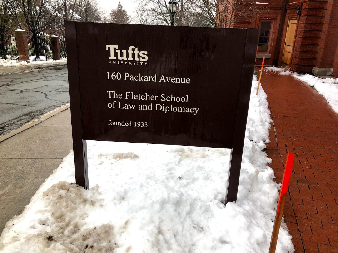 Fletcher School sign in snow
