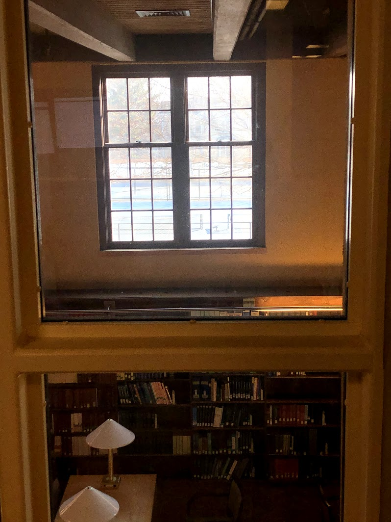 Ginn Library window to tennis courts