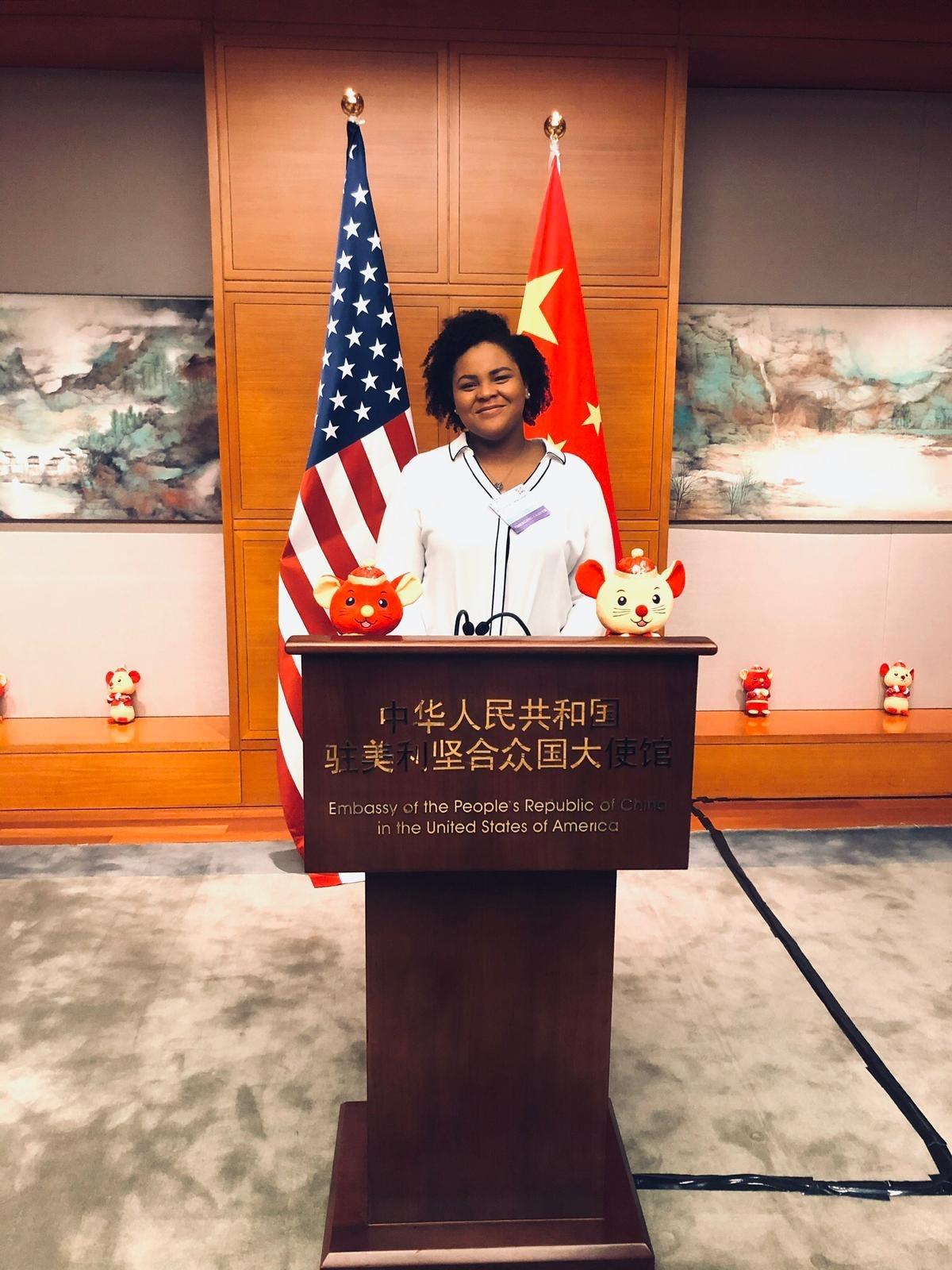 Almarie at podium