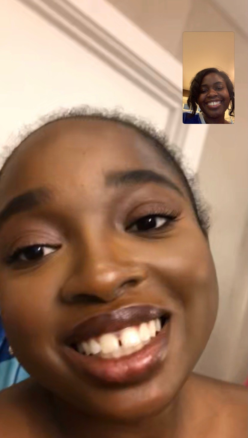 Princess and friend on facetime
