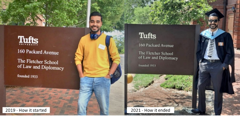 Mohit at Fletcher building sign