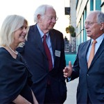 Standing in front of the Brandenburg Gate in Berlin, Associate Dean Deborah Winslow Nutter speaks with Klaus Scharioth (MA 73, MALD 74 PhD 78), Former German Ambassador to the US and Former State Secretary German Federal Foreign Office, and Wolfgang Ischinger (MA 73), Former Deputy Foreign Minster of Germany and Former German Ambassador to the US and the UK, about their experiences at The Fletcher School.