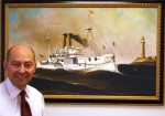 "Dean Stavridis in front of his painting ""Remember the Maine"""