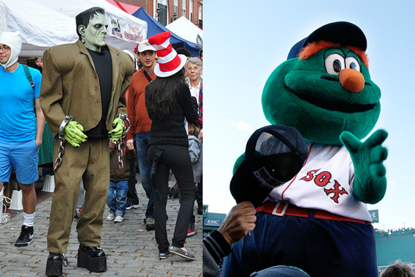 Frankenstein (left) and Wally, The Red Sox Mascot. Photos: http://www.flickr.com/photos/bsaren; /www.flickr.com/photos/compose-r