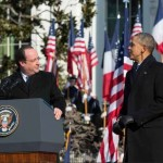 President Barack Obama listens as President François Hollande of France delivers remarks during the State Arrival Ceremony on the South Lawn of the White House, Feb. 11, 2014. (Official White House Photo by Pete Souza)