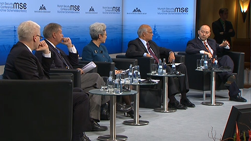 Prof. Dr. Ivo Josipović (President, Republic of Croatia, Zagreb), Lindsey Graham (Senator, Member of the Senate Committee on Armed Services, United States of America), Fu Ying (Chairwoman of the Foreign Affairs Committee of the National People's Congress, People's Republic of China), Shivshankar Menon (National Security Advisor, Republic of India), Moderator: James G. Stavridis Admiral (ret.; former NATO Supreme Allied Commander Europe; Dean of the Fletcher School of Law and Diplomacy, Tufts University).Comment: Fumio Kishida (Minister of Foreign Affairs, Japan)