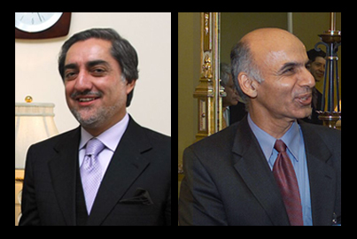 Photo: (Left) Former foreign minister Abdullah Abdullah and former finance minister Ashraf Ghani.