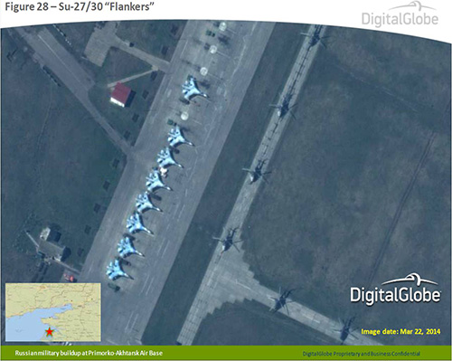 Fighter jets and helicopters at Primorko-Akhtarsk Air Base - Photo courtesy of DigitalGlobe