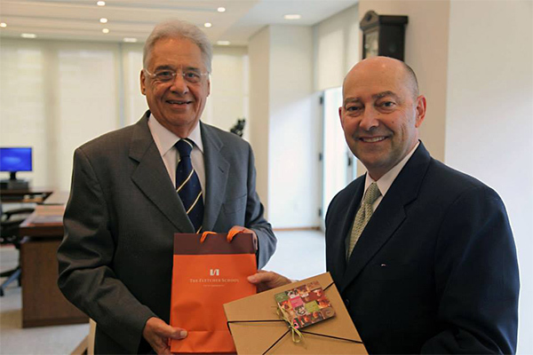 Dean James Stavridis and former #Brazilian President, Fernando Henrique Cardoso, pose for a photo before the event. — at Instituto Fernando Henrique Cardoso (iFHC).