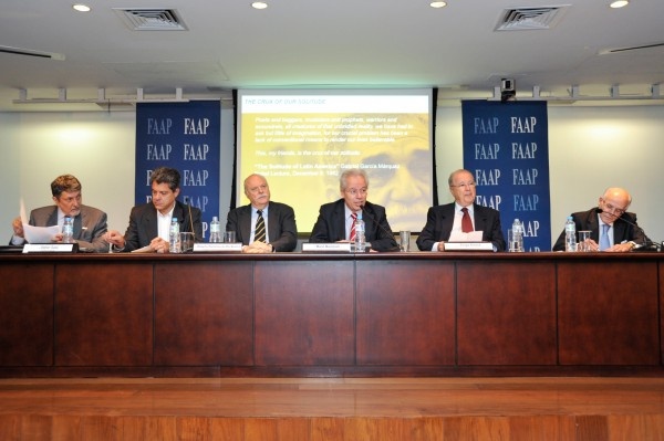 Session 1 of the Symposium on the Internationalization of Brazilian Business focused on Industry.  From left to right: Stefan Salej, President of Schaley; Roger Agnelli, Partner, AGN; Roberto Paranhos do Rio Branco, President of the Brazil-India Chamber of Commerce; Mario Marconini, Director of Foreign Trade and International Relations at Fiesp São Paulo; Ambassador Sergio Amaral, Board member, FAAP; and Jose Fernandes Martins, Vice President of Institutional Relations of Marcopolo. — at FAAP - Fundação Armando Alvares Penteado.