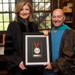 05/21/2016 - Medford/Somerville, Mass. - James Stavridis, Dean of The Fletcher School of Law and Diplomacy at Tufts University poses with Arianna Huffington at the 2016 Class Day for the school. (Matthew Healey for Tufts University)