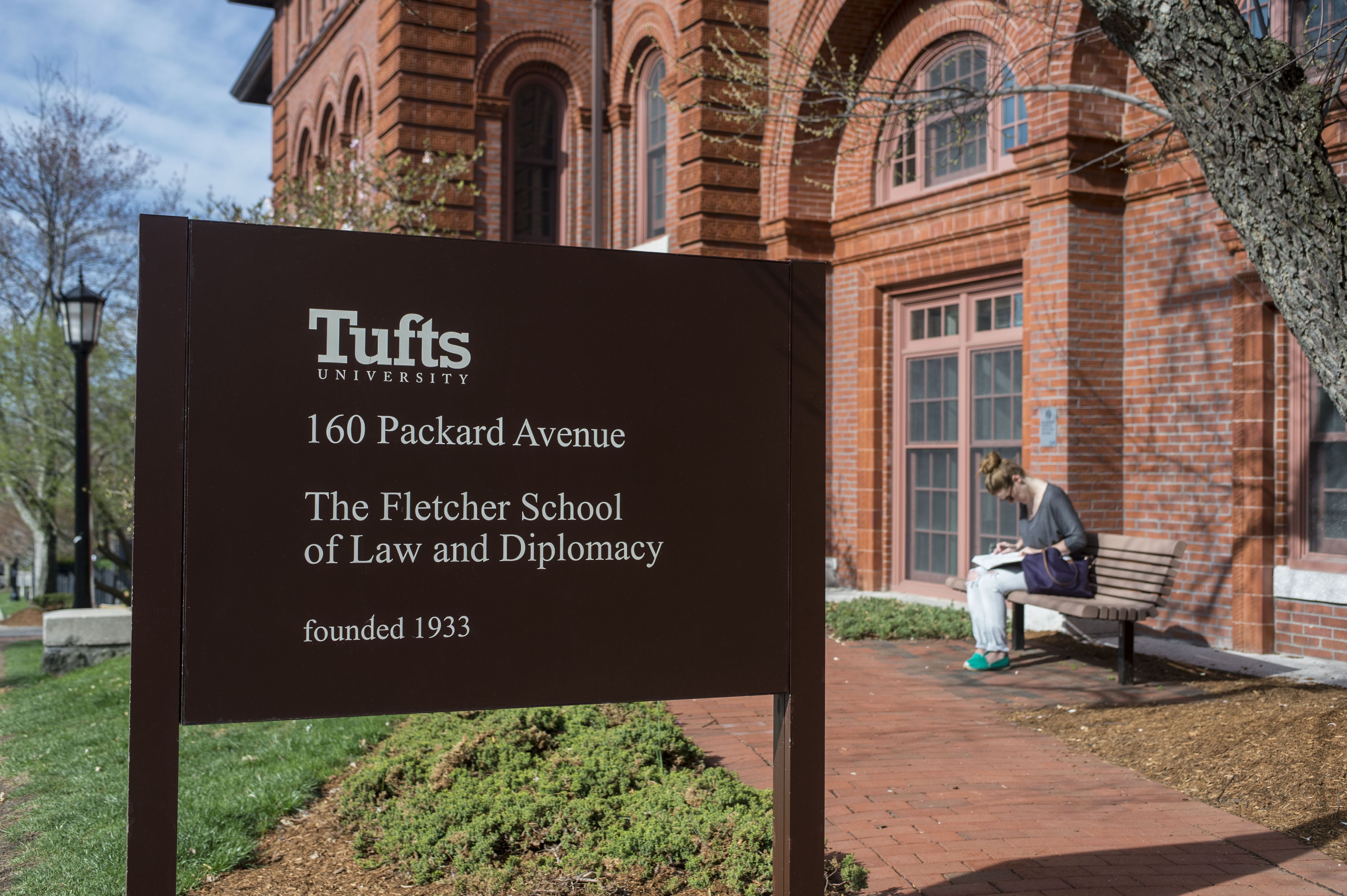 The Fletcher School sign at 160 Packard Avenue at Tufts University