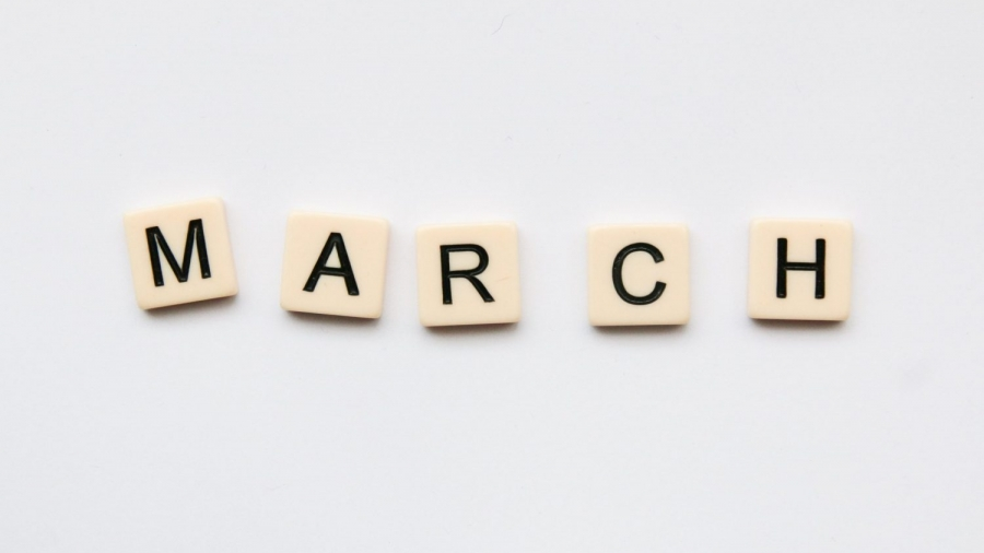 March spelled out in scrabble letters