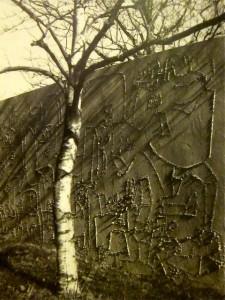 graffito mural in his garden