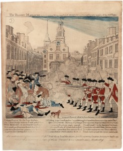 Colored engraving of British soldiers wearing red coats firing into a crowd in front of the building now known as the Old State House in Boston. There is also a dog.