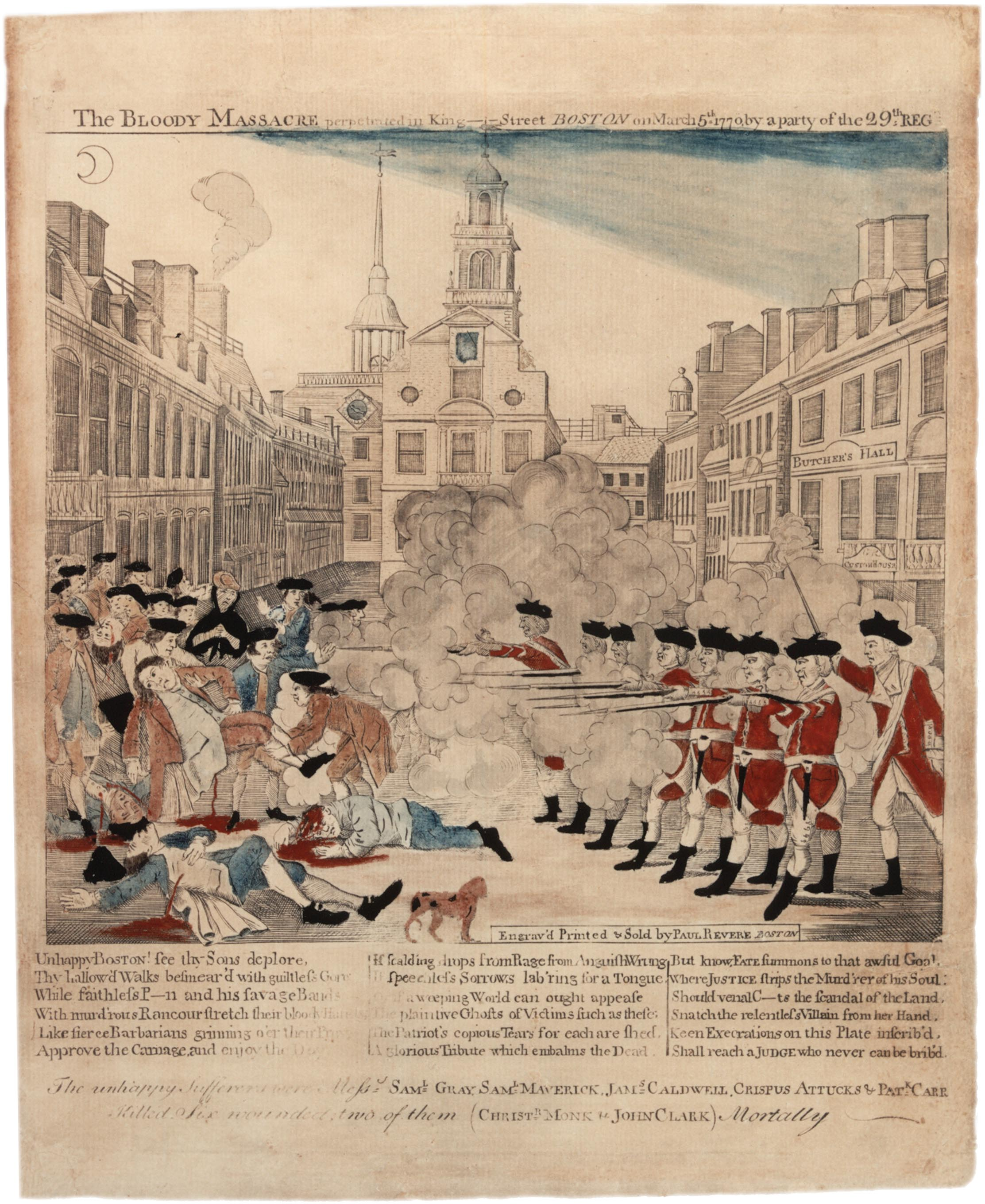 the boston massacre whos to blame Produced just three weeks after the boston massacre, paul revere's historic   revere based his engraving on that of artist henry pelham, who created the first .
