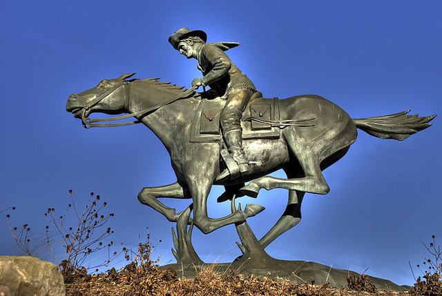 Pony Express Rider -hdr  by  John Carrel  is licensed under  CC By-NC-ND 2.0