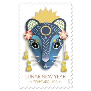 Stamp with image of rat for lunar year 2020