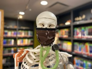 Leo the skeleton wearing a homemade face mask