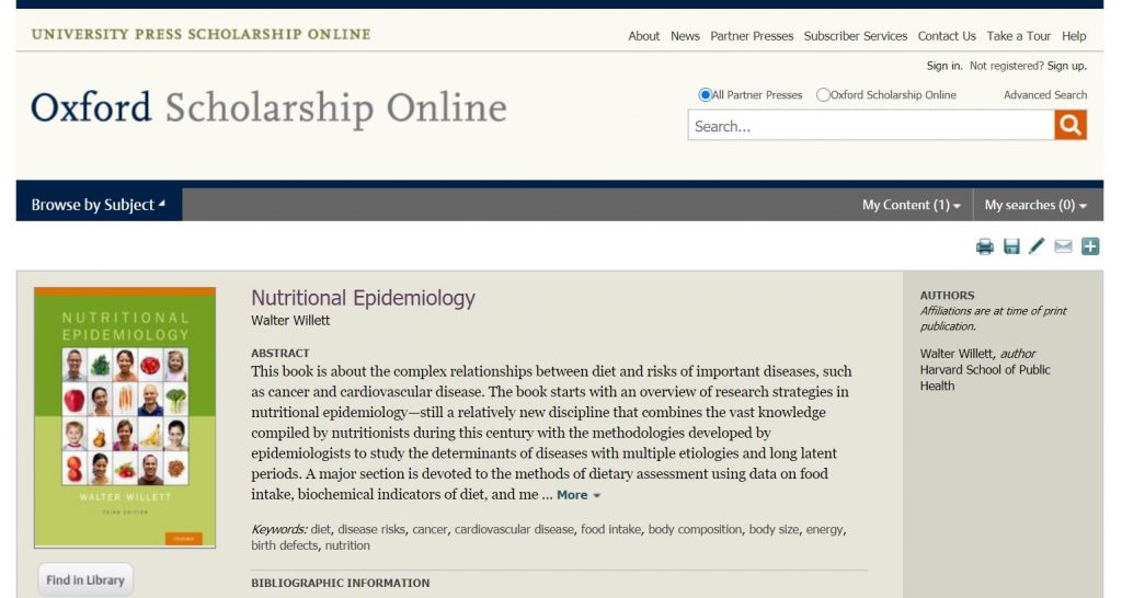 Screenshot of the textbook Nutritional Epidemiology on the Oxford platform