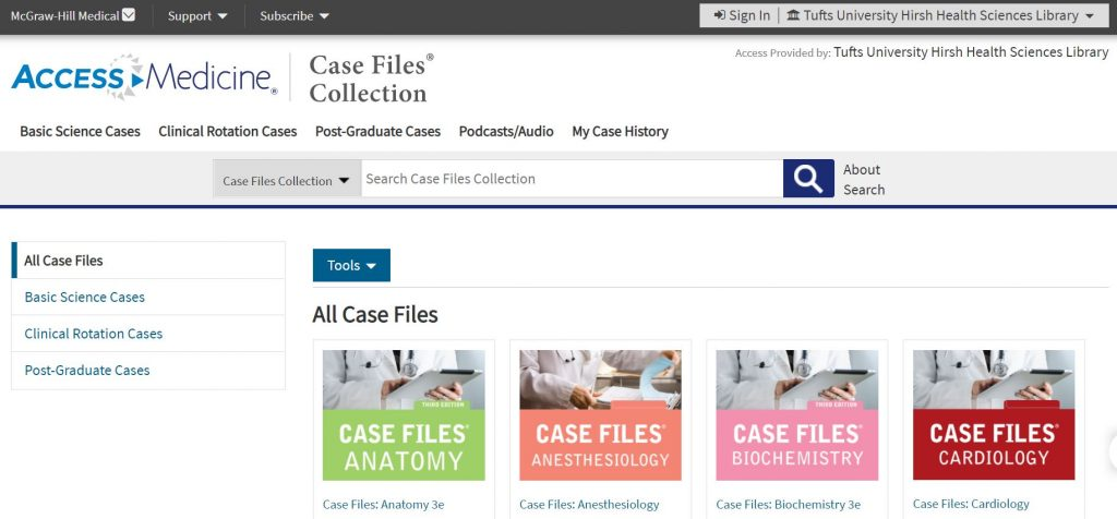 Screenshot of Access Medicine Case Files Collection webpage