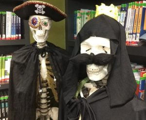 Leo and Theo skeletons dressed in costumes
