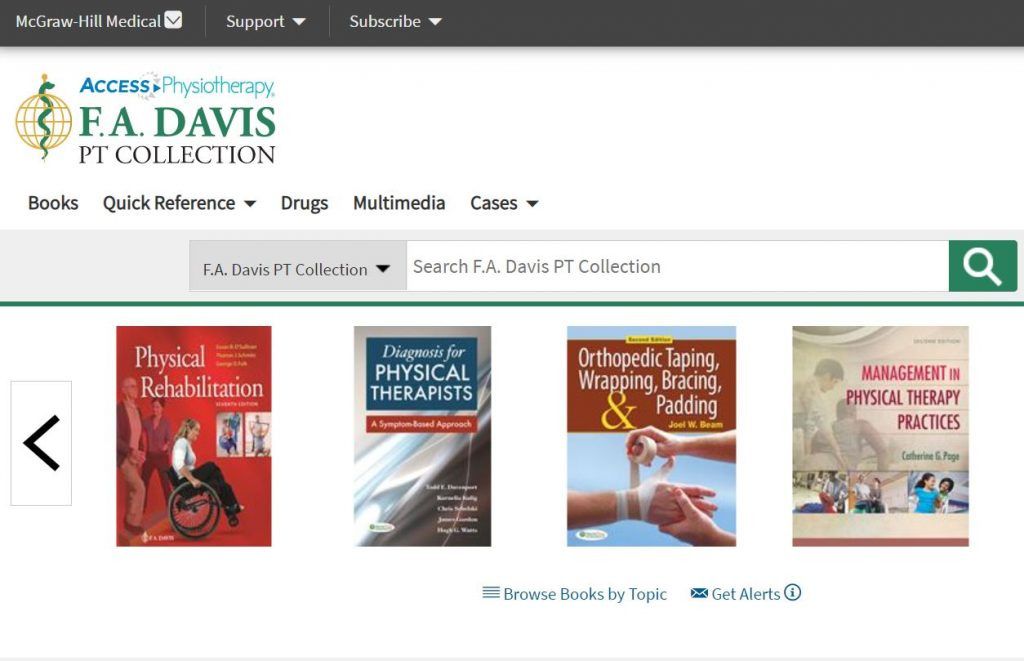 Screenshot of F.A. Davis Physiotherapy collection