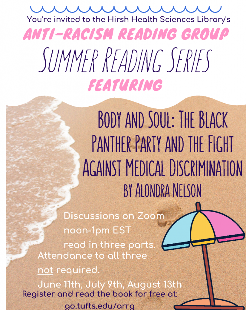 Poster advertising Anti Racism Reading Group summer series
