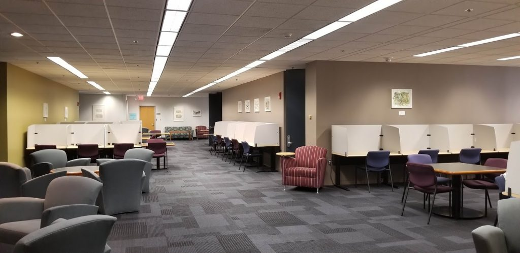 6th floor of library with study carrels