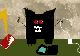 a black square in front of the moon with ears, claws, and lightning and fangs