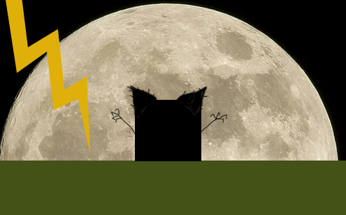 a black square in front of the moon with ears, claws, and lightning