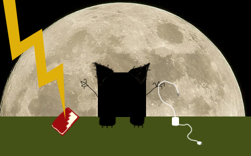a black square in front of the moon with ears, claws, and lightning and feet