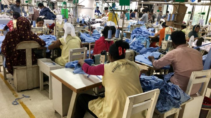 Garment workers in factory.