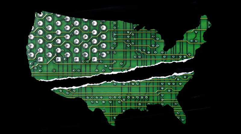 Graphic of the united states cut in half