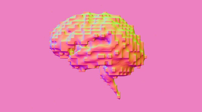 Pixelated brain graphic with pink background