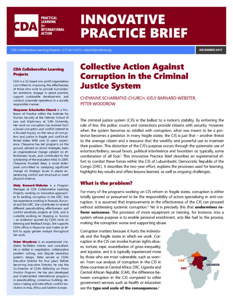 Collective Action Against Corruption in the Criminal Justice System