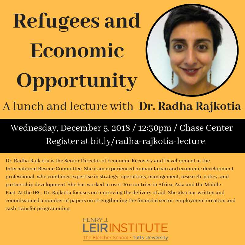 Refugees and Economic Opportunity: Lunch & Lecture with Dr. Radha Rajkotia