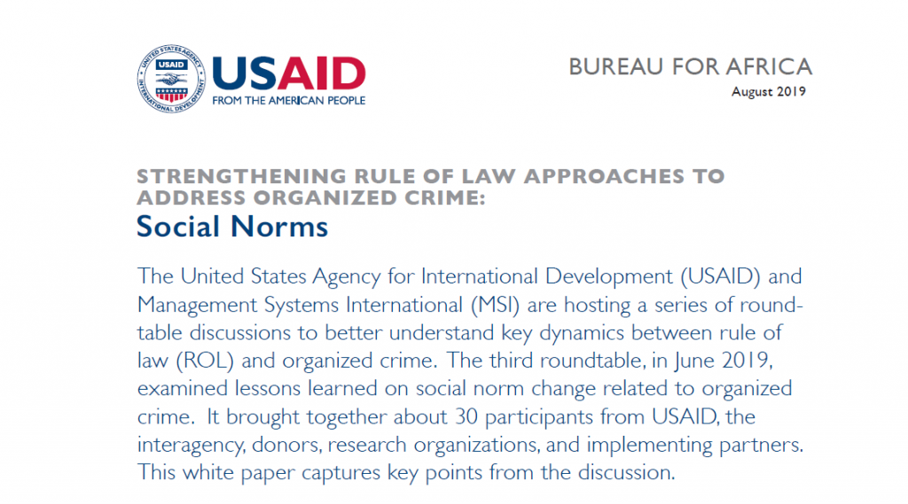 Strengthening Rule of Law Approaches to Address Organized Crime: Social Norms