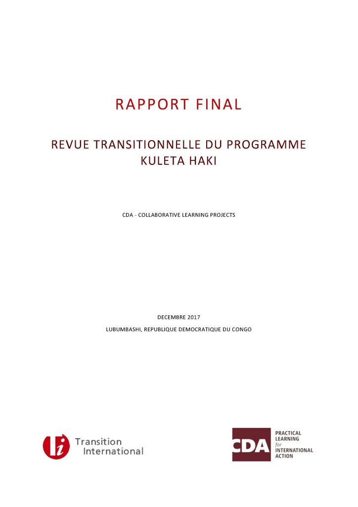 Rapport Final: Revue Transitionnelle du Programme Kuleta Haki