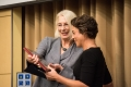 10/21/2015 - Medford, MA - Eileen Babbitt presents an award to Maria Stephan, recipient of the Inaugural Henry J. Leir Human Security Award on October 21st, 2015. (Ian MacLellan for Tufts University)