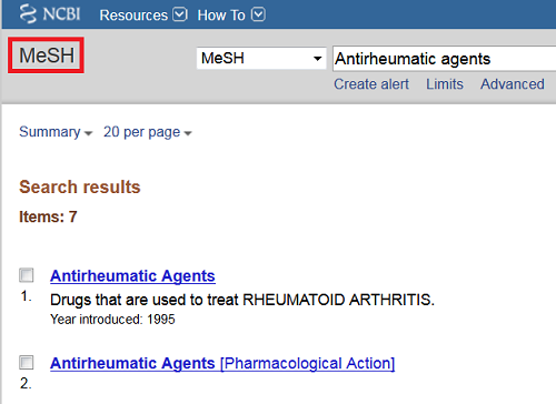 MeSH records for 'antirheumatic agents'