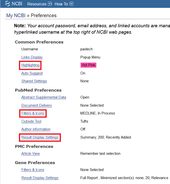 Preferences page in My NCBI