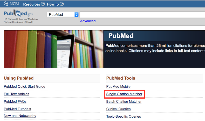 Single Citation Matcher in PubMed