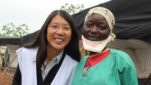 Medecins Sans Frontieres International President Joanne Liu, with healthcare worker. (P.K. Lee/Doctors Without Borders)
