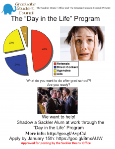 "The ""Day in the Life"" Program Flyer Shadow a Sackler Alum at work through the ""Day in the Life"" Program More info: http://goo.gl/AvpCxl Apply by January 15th: https://goo.gl/8mxAUW"
