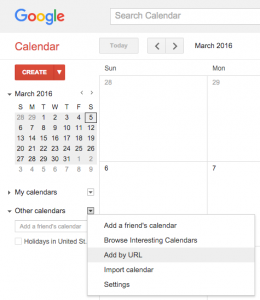 Adding an iCal feed to Google Calendar