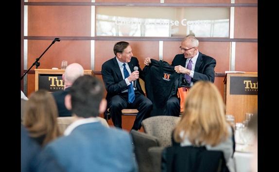 General Petraeus accepting ISSP sweatshirt from Professor Shultz - February, 2016