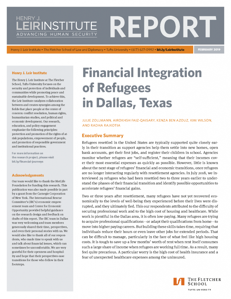 Financial Integration of Refugees in Dallas, Texas