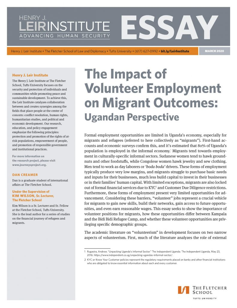 The Impact of Volunteer Employment on Migrant Outcomes: Ugandan Perspective
